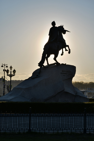 horseman: Monument to Peter 1 the bronze horseman back in the sunlight in St. Petersburg Stock Photo