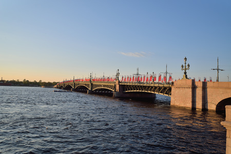 neva: Trinity bridge on Neva river at sunset  in Saint-Petersburg Stock Photo