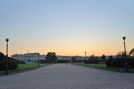 champ: Sunset on the Champ de Mars  in Saint-Petersburg Stock Photo