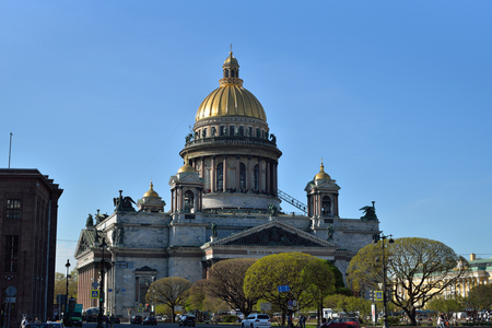 St. Isaacs Cathedral on a clear Sunny day in St. Petersburg in the summer  in May