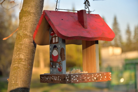 feeders: Bird feeders - cabin in the city Park of the Victory in Saint-Petersburg Stock Photo
