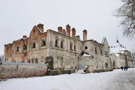 Old crumbling building in the Theodore town in Pushkin, the Academic prospect 18, St Petersburg Stock Photo