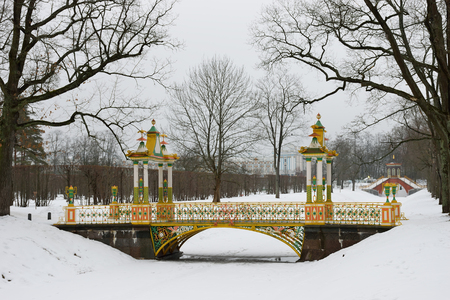turrets: Painted the bridge with turrets through the Bypass channel in the Alexander Park in Pushkin, St. Petersburg