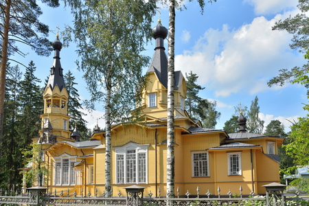 Church of the Holy apostles Peter and Paul outside the fence in the village of Vyritsa in Siverskiy the highway in Leningrad region in summer Sunny day . Stock Photo