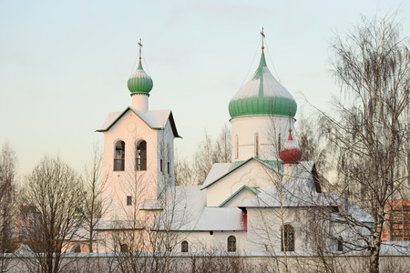 christmas grounds: The Church of St. Sergius of Radonezh on the island Park at Pulkovo in St. Petersburg   in winter on a Sunny day