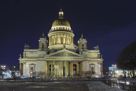 St. Isaacs Cathedral illuminated at night in the winter in St. Petersburg Stock Photo