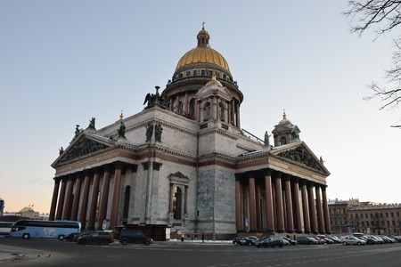 a creator: St. Isaacs Cathedral in the winter evening in St. Petersburg