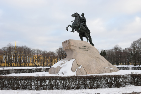 peter the great: Monument to Peter the great the bronze horseman in the winter in St. Petersburg