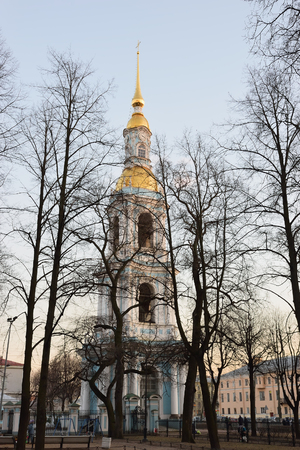 battle cross: The bell tower of St. Nicholas Naval Cathedral from the street Glinka at sunset in St. Petersburg