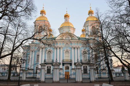 battle cross: Marine St. Nicholas Cathedral from the street Glinka at sunset in St. Petersburg