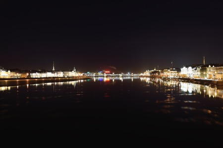blagoveshchensky: Night view of Palace bridge and Neva river with floating ice floes with Blagoveshchensky bridge in St. Petersburg