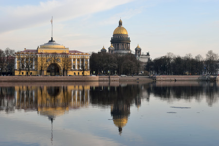 Views of the River Neva, the Admiralty embankment, St. Isaacs Cathedral and the Admiralty in St. Petersburg Stock Photo