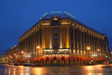 Hotel Astoria at night after rain in St. Petersburg