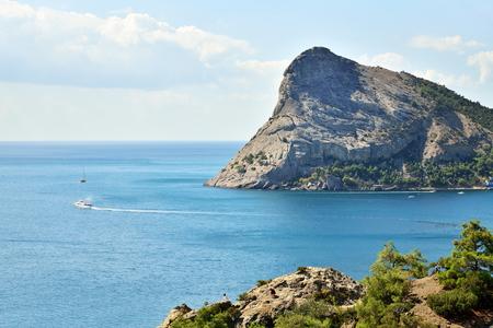 Landscape of the coast of the New world Sunny day. Crimea. Stock Photo