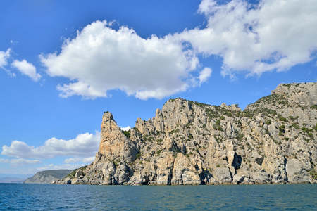 View from boat at sea on the coast in the village of Novy Svet. Crimea. Stock Photo