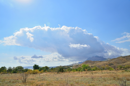 guarded: The cloud comes up from behind the mountains in the Karadag National nature reserve. Crimea