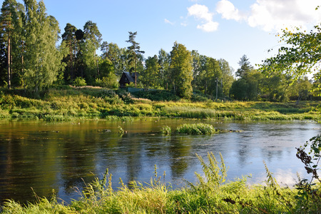 backwater: Shallow spill and the backwater of the river Oredezh in Vyritsa Sunny summer day. Stock Photo