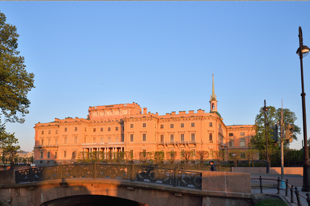 View of the Mikhailovsky (engineers) castle and the bridge with the Swan canal  in Saint-Petersburg