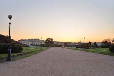 Sunset on the Champ de Mars  in Saint-Petersburg Stock Photo