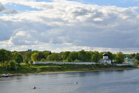 PSKOV, RUSSIA - MAY 17, 2016: View of the Spaso-Preobrazhenskiy Mirozhsky monastery on the banks of the great river
