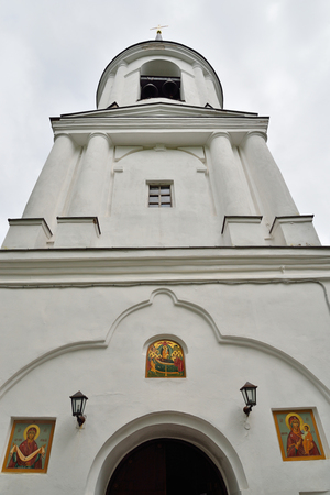 gory: The main bell tower and the entrance to the Uspensky Svyatogorsky monastery the city Pushkinskiye Gory