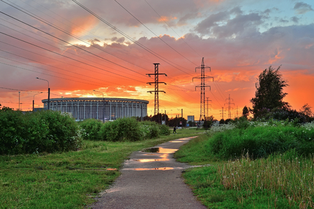 st petersburg: Sports and Concert complex St. Petersburg , the former V. I. Lenin at sunset after rain Stock Photo