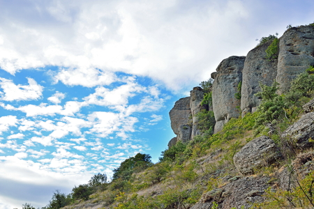 Stone pillars in the valley of ghosts. Crimea Stock Photo