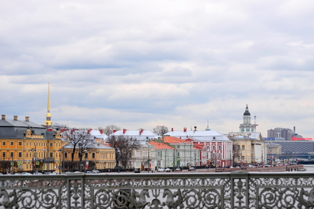 View of the Peter and Paul fortress, the Kunstkammer and the embankment of the Neva river from the Blagoveshchensky bridge.
