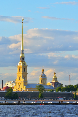 Peter and Paul fortress on the banks of the river Neva in the summer in Saint-Petersburg. Stock Photo