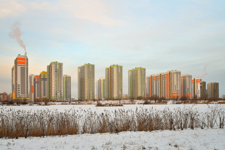 The residential complex Sofia on the southern highway from the company of LSR in the winter. Petersburg .