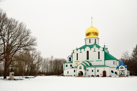 Feodorovsky Orthodox Cathedral in the Alexander Park of Pushkin in winter