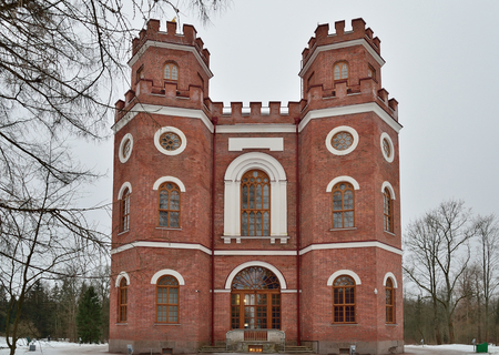 Renovated pavilion of the Arsenal in the town of Pushkin in winter Stock Photo