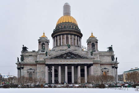 St. Isaacs Cathedral on a cloudy day in winter.