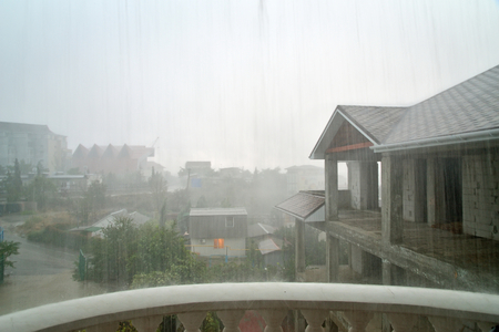 View from hotel balcony during a heavy rain. Sudak. Crimea