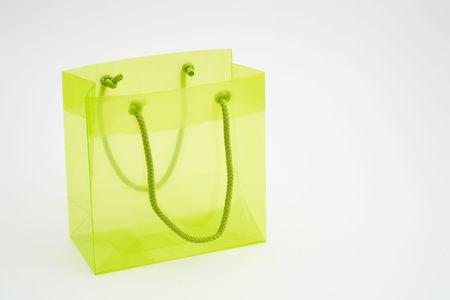 Transparant green gift bag Stock Photo