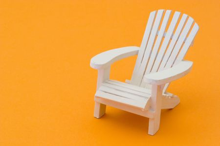 Isolated white deck chair