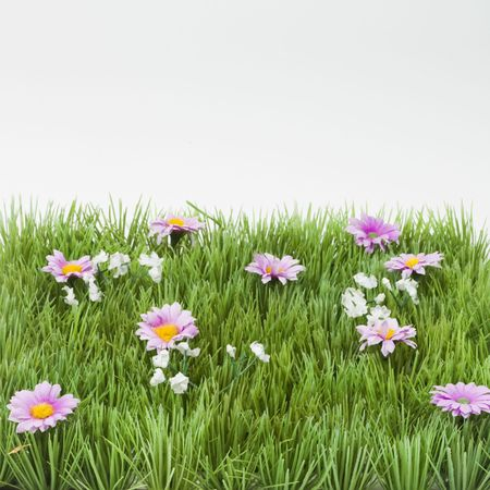 Fake plastic spot of grass with flowers