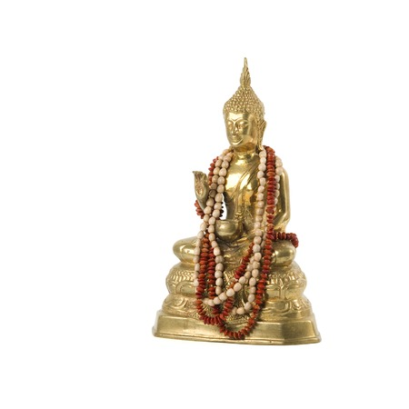 Golden Buiddha statue with necklace