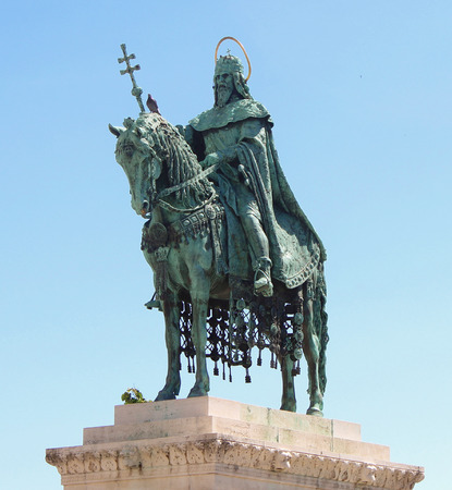 caped: King  Saint atop mighty steed in Heros Square Budapest