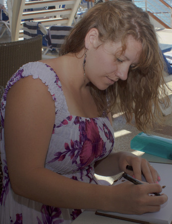 Artist Concentrating on Her Work