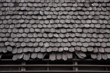 moulder: Old wood roof tiles Stock Photo
