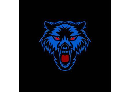 Wolf head mascot icon roars