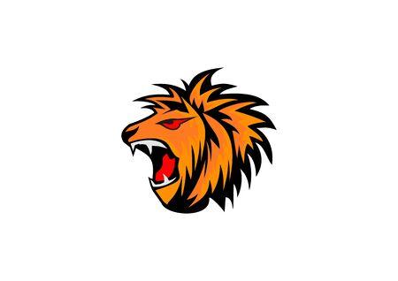 Icon design of a roaring lions head Ilustração