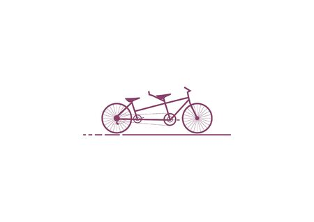 Logo of tandem bicycle silhouette vector