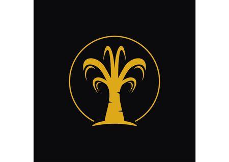 simple golden palm tree silhouette logo Ilustração