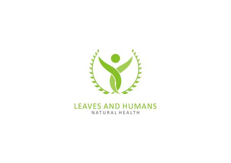 Simple human logo and leaves in an abstract style Ilustração