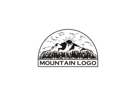 Vector logo of a mountain view with evergreen trees