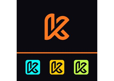 Initial K modern vector logo with various colors Ilustração
