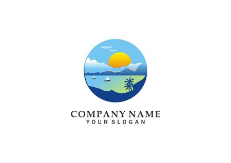 landscape logo of the sea and mountain landscape or logo vector illustration of sunrise and sunset