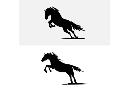 Silhouette vector logo horse running and jumping